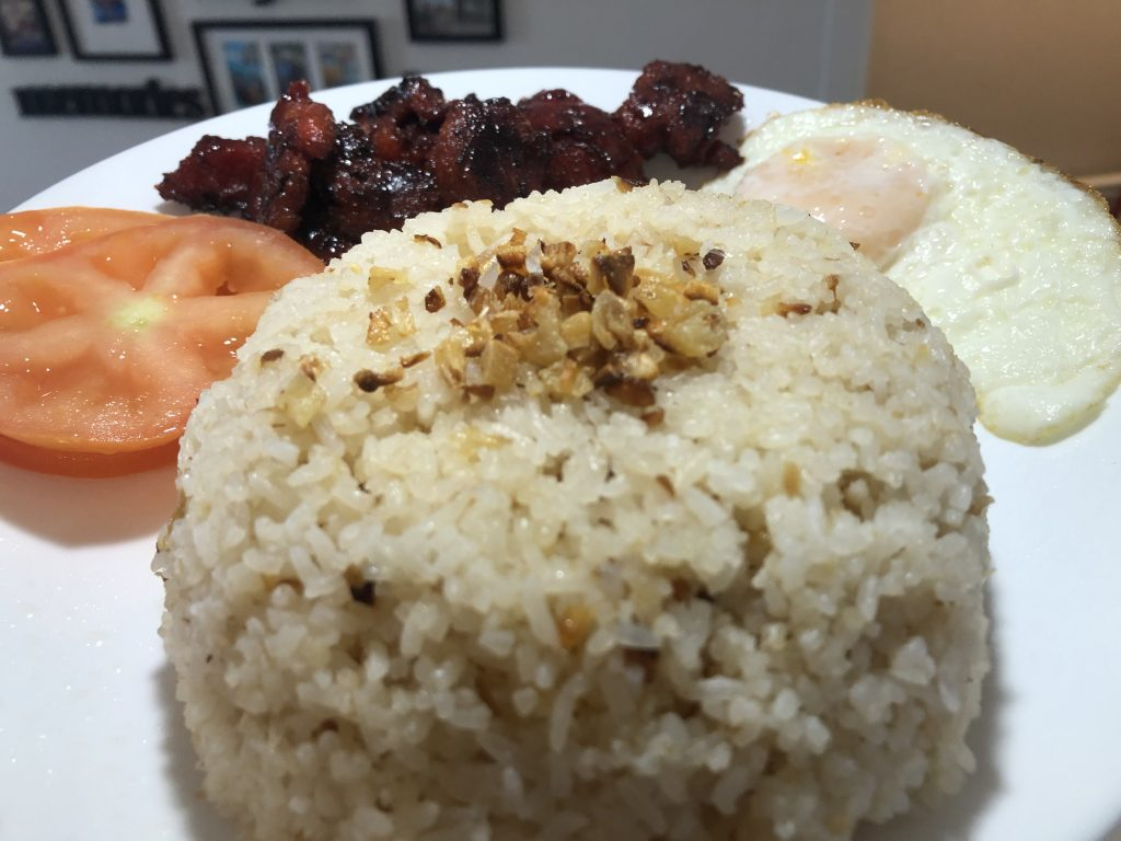 Sinangag Fried Rice with garlic toppings