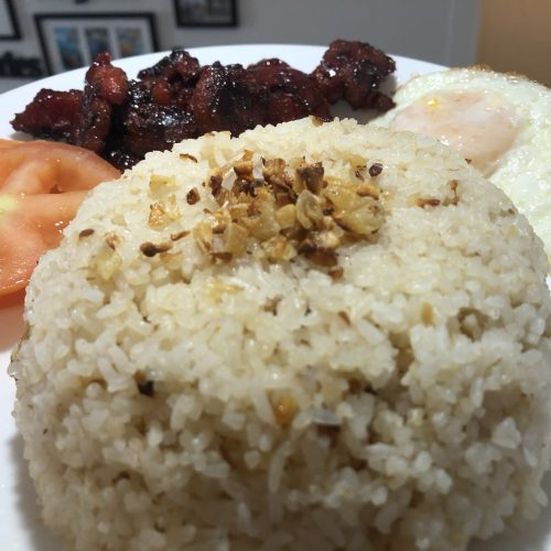 Sinangag Fried Rice with garlic toppings